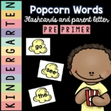 Kindergarten Pre-Primer Sight Word Flashcards and Letter to Parents