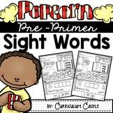 Kindergarten Pre-Primer Sight Words-Popcorn Theme