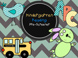 Kindergarten Screener & Back to School Assessment