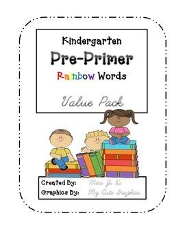 Kindergarten PrePrimer Dolch Rainbow Words VALUE PACK - Wo