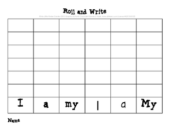 Kindergarten PrePrimer Roll and Write games-22 in all