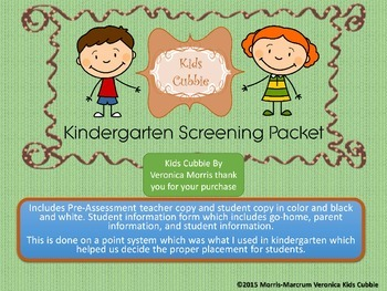 Kindergarten PreScreening Assessment and Student Information Packet