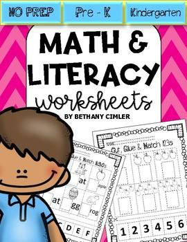 Kindergarten Prep Math and Literacy Worsheets   NO PREP