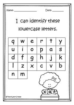Kindergarten/Prep Start of the Year Assessment Portfolio Pages