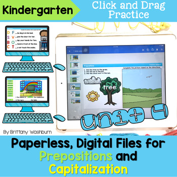 Kindergarten Prepositions and Capitalization Digital Activities