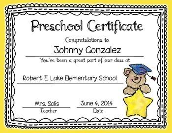 prek certificate  Graduation Certificates