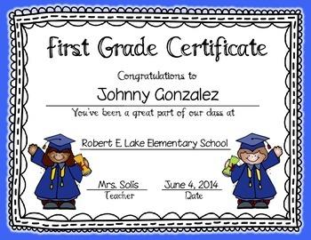 graduation certificates invitation editable prek kinder 1st