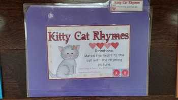 Kindergarten Preschool Kitty Cat Rhyming Pictures File Folder Game READY TO PLAY