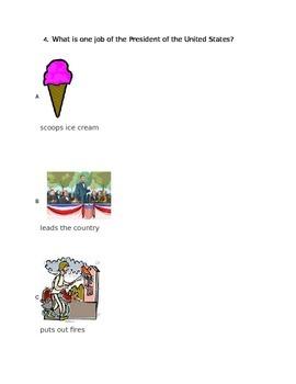 Kindergarten Presidents Assessment