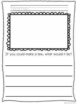 Kindergarten Presidents Day Writing - No Prep! Presidents Day Activities