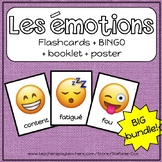 Beginner French Emotions/Les Émotions - Flash cards, LOTO game, poster, book