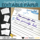 Primary Editable Writing Paper : Cursive