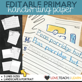 Primary Writing Paper : Editable Print Font