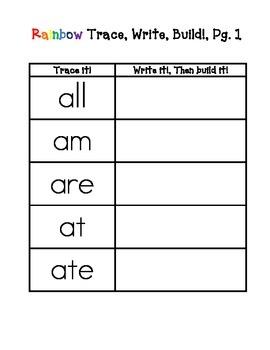 Kindergarten Primer Dolch Rainbow Words VALUE PACK - Word Work Center