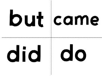 Kindergarten (Primer) Dolch Sight Word Flash Cards