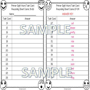 Kindergarten Primer Sight Word Spelling Emoji Task Cards