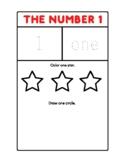 Kindergarten Printable Color Reading/Writing Numbers Practice 1 - 10