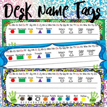 Kindergarten Printable Desk Name Tags