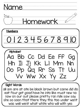 Kindergarten Printable Homework Packet and Folder Cover by ...