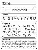 Kindergarten Printable Homework Packet and Folder Cover
