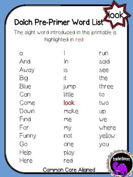 Kindergarten Printable Sight Word Reader: Look