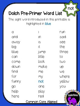 Kindergarten Printable Sight Word Reader: Not