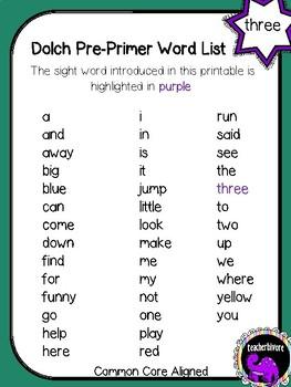 Kindergarten Printable Sight Word Reader: Three