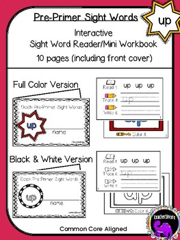 Kindergarten Printable Sight Word Reader: Up