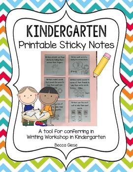 Kindergarten Printable Sticky Notes