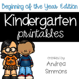 Kindergarten Printables Beginning of the Year