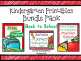 Kindergarten Printables Bundle - Back to School