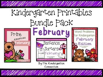 Kindergarten Printables Bundle - February