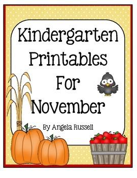 Kindergarten Printables For November