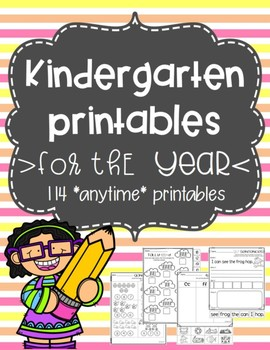Kindergarten Printables for the YEAR!