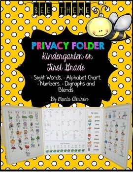 Privacy Folder w/Sight Words, and Variety of Charts - Bee Theme