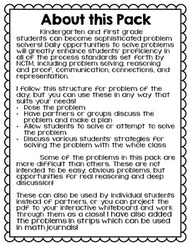 Kindergarten Problem Solving Bundle