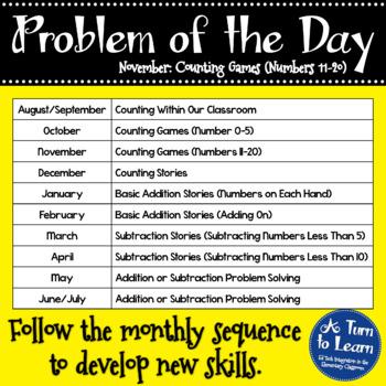 Kindergarten Problem of the Day - November
