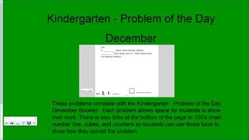 Kindergarten Problem of the Day for December for Smartboard