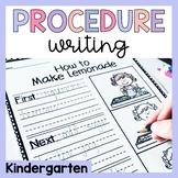 Kindergarten Procedure Writing Prompts and Worksheets