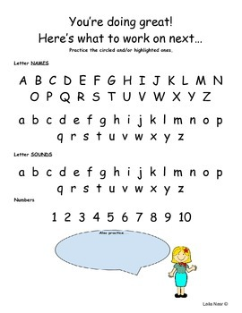 Kindergarten Progress Communication Sheets