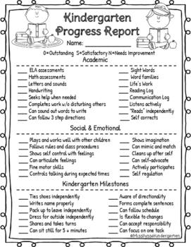 Kindergarten Progress Report for Parent Teacher Conferences