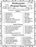 Kindergarten Progress Report for Parent Teacher Conferences