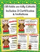 Kindergarten Promotion Certificate and Invitation Cute Owl Award Editable