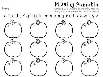 Kindergarten Pumpkin Literacy Center - Missing Letter