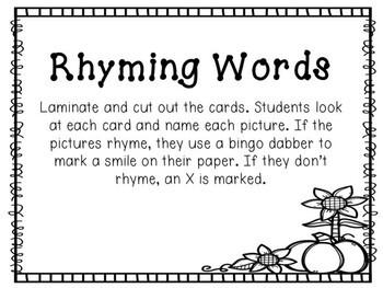 Kindergarten Pumpkin Literacy Center - Rhyming Bingo Dabber Center