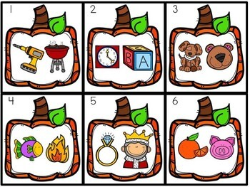 Kindergarten Pumpkin Literacy Center - Rhyming Bingo Dabber Center