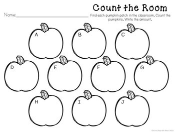 Kindergarten Pumpkin Math Center - Count the Room