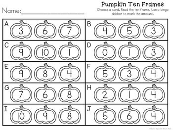 Kindergarten Pumpkin Math Center - Pumpkin Ten Frames