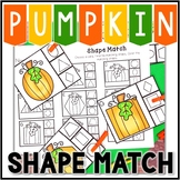 Kindergarten Pumpkin Math Center - Shape Match Clip Cards