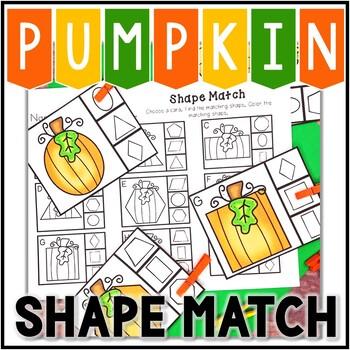 Kindergarten Pumpkin Math Center - Shape Match Clip Cards